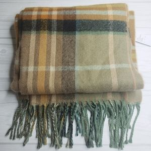 Topshop Women's Scarf NWT $35 Sage Green Camel Cozy Soft Long Rectangle